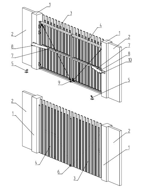 Конструкция откатных ворот серии Prestige